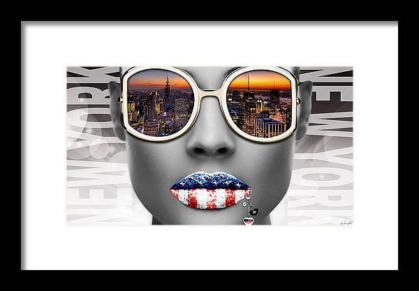 Woman Framed Print featuring the digital art Musa New York by Jan Raphael