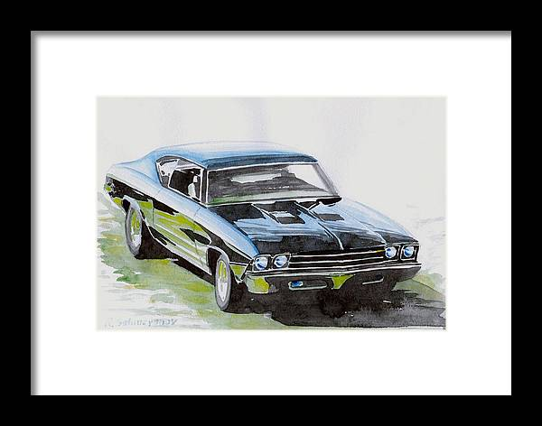 Muscle Car Framed Print featuring the painting Muscle Car by Ildus Galimzyanov