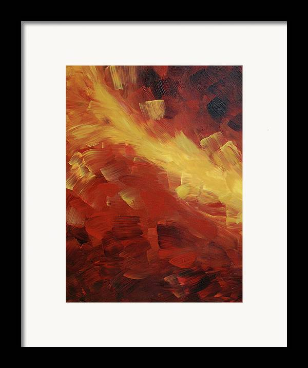 Fire Framed Print featuring the painting Muse In The Fire 1 by Sharon Cummings