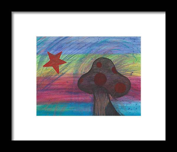 Abstract Framed Print featuring the painting Mushroom And Star by Jill Christensen