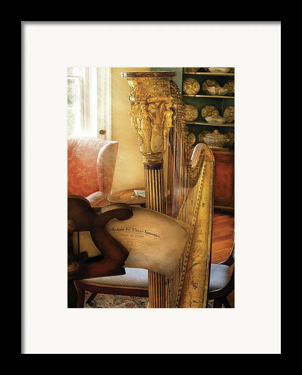 Savad Framed Print featuring the photograph Music - Harp - The Harp by Mike Savad