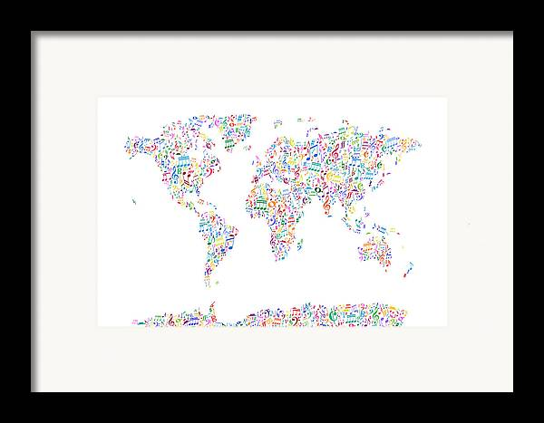 World Map Framed Print featuring the digital art Music Notes Map Of The World by Michael Tompsett