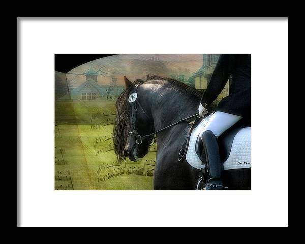 Friesian Horses Framed Print featuring the digital art Musical Freestyle by Fran J Scott