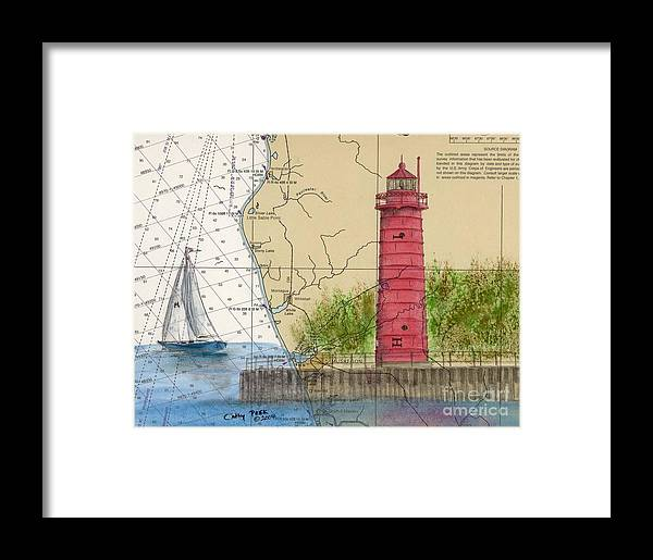 Muskegon Framed Print featuring the painting Muskegon Lighthouse Mi Nautical Chart Map Art Cathy Peek by Cathy Peek