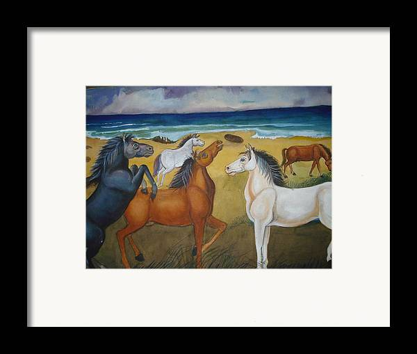 Mustang Framed Print featuring the painting Mustang Mates by Prasenjit Dhar
