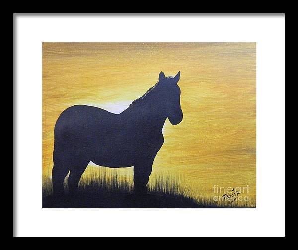 Mustang Framed Print featuring the painting Mustang Silhouette by Tanja Beaver