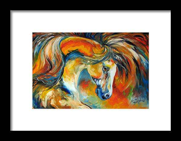 Equine Framed Print featuring the painting Mustang West by Marcia Baldwin