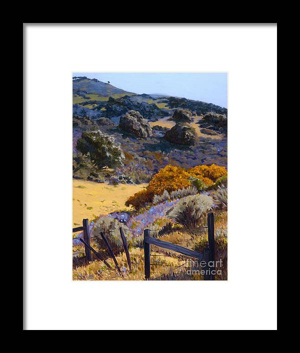 Landscape Framed Print featuring the painting Mustard And Lupine by Betsee Talavera
