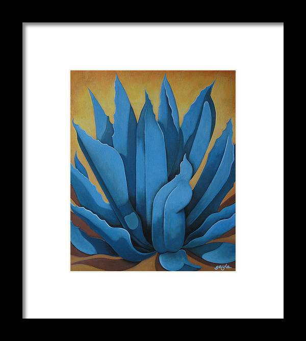 Agave Framed Print featuring the painting My Agave by Gayle Faucette Wisbon
