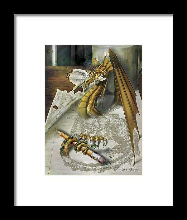 Dragon Framed Print featuring the digital art My Dragon Ate My Homework by Jennifer Garstang