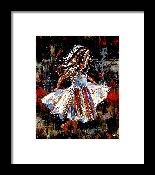 Child Framed Print featuring the painting My Dress by Debra Hurd