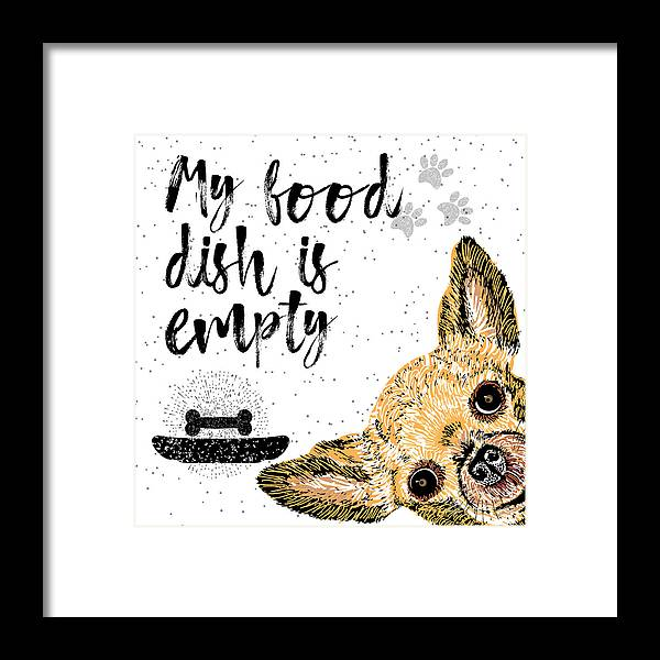 Sparkle Framed Print featuring the digital art My Food Dish Is Empty. Vector by Golden Shrimp