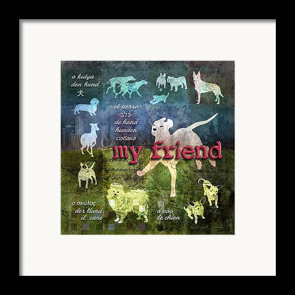 Dog Framed Print featuring the digital art My Friend Dogs by Evie Cook