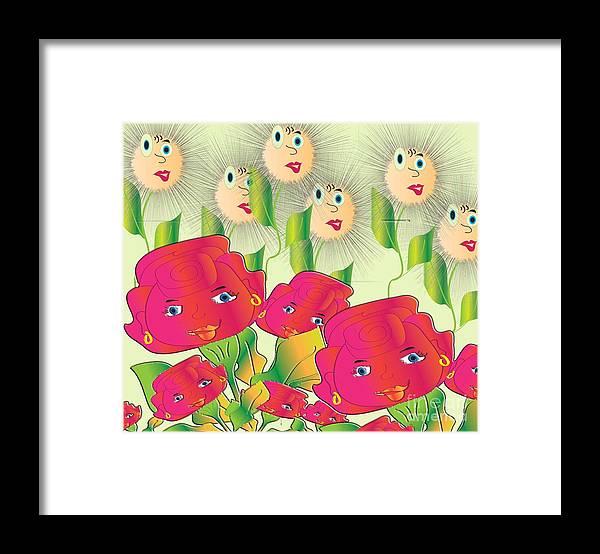 Cartoon Framed Print featuring the digital art My Garden by Iris Gelbart