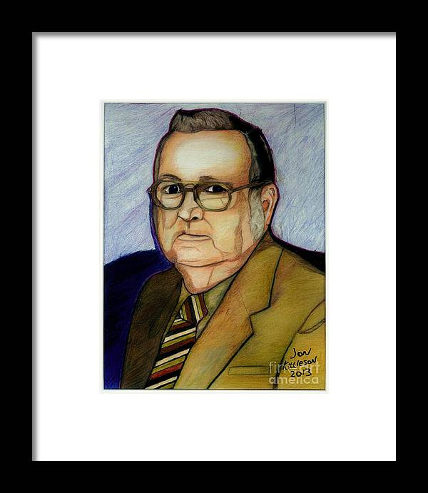 Family Framed Print featuring the drawing My Grandfather At A Younger Age by Jon Kittleson