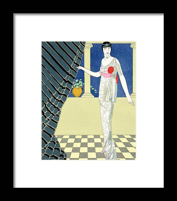 Mes Invites N'arrivent Pas Framed Print featuring the painting My Guests Have Not Arrived by Georges Barbier