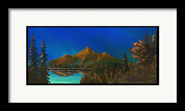 Mountain Framed Print featuring the painting My Kind Of Peace by Steven Lebron Langston