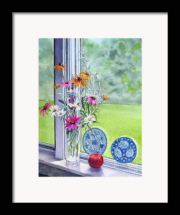 Flowers Framed Print featuring the painting My Kitchen Window by Karol Wyckoff