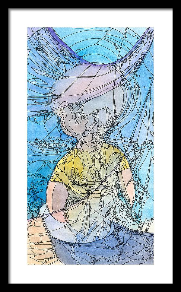 Small Framed Print featuring the painting My Little Blue by Ingela Christina Rahm