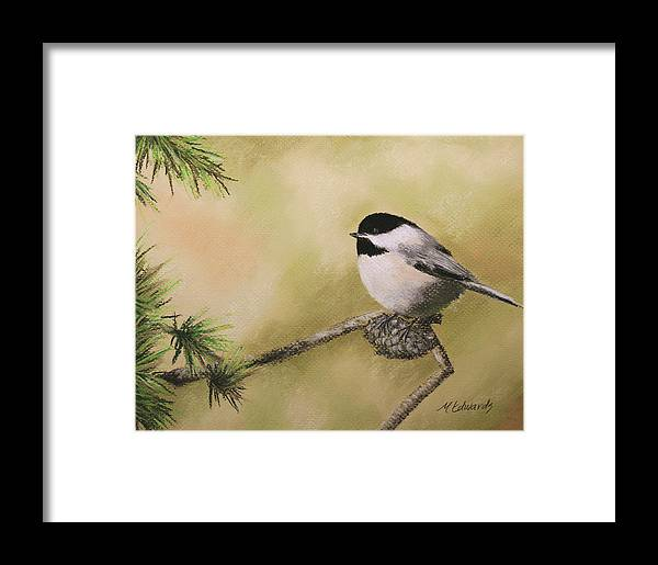 Chickadee Framed Print featuring the pastel My Little Chickadee by Marna Edwards Flavell