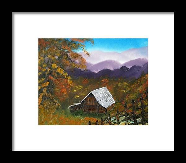 Landscape Framed Print featuring the painting My Neighbors Barn Big Sandy Mush Nc by Margaret G Calenda