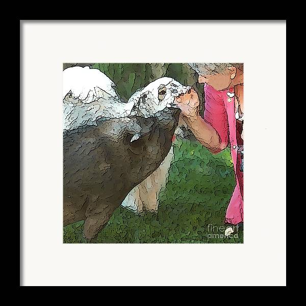 Pig Framed Print featuring the digital art My Pig And Dog Friends by Artist and Photographer Laura Wrede
