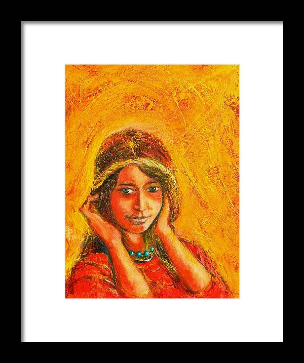 Portrait Framed Print featuring the painting My Princess by ITI Ion Vincent Danu