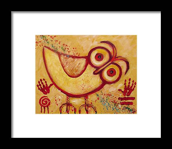 Owl Framed Print featuring the painting My Red Primitive Owl by Carol Suzanne Niebuhr