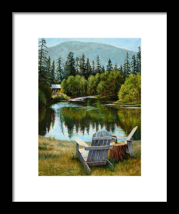 Adirondack Chair Framed Print featuring the painting My Space by Mary Giacomini