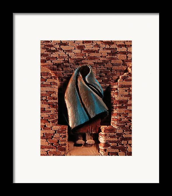 Relief Framed Print featuring the relief My Spirit Lingers by Carl Bandy