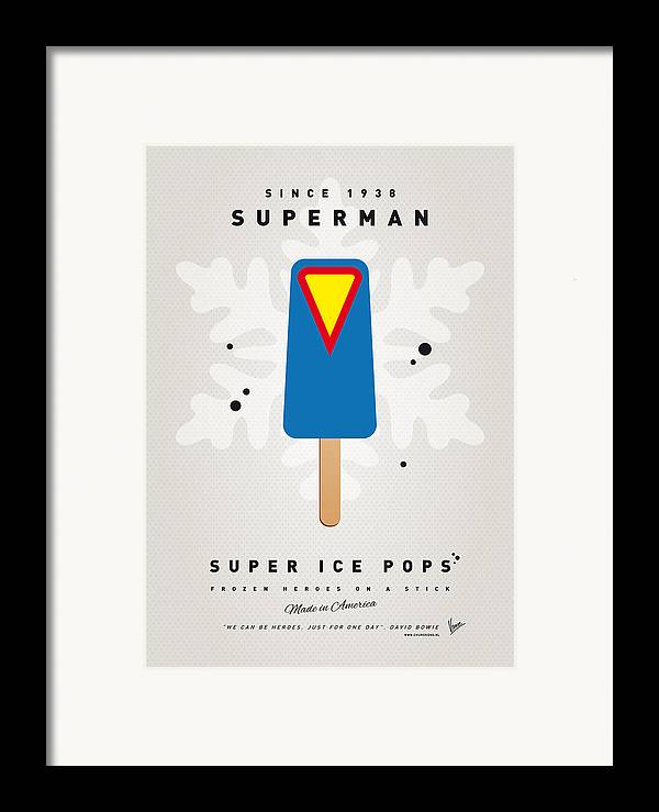 Superheroes Framed Print featuring the digital art My Superhero Ice Pop - Superman by Chungkong Art