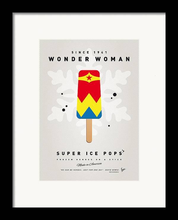 Superheroes Framed Print featuring the digital art My Superhero Ice Pop - Wonder Woman by Chungkong Art