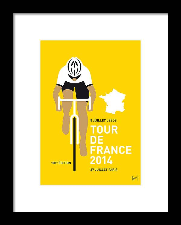 Minimal Framed Print featuring the digital art My Tour De France Minimal Poster 2014 by Chungkong Art