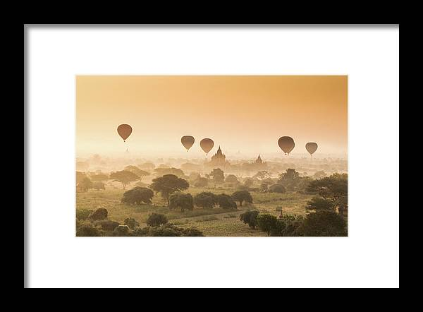 Tranquility Framed Print featuring the photograph Myanmar Burma - Balloons Flying Over by 117 Imagery