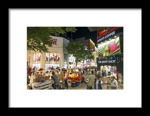 Advertising Framed Print featuring the photograph Myeongdong Shopping Street In Seoul South Korea by Jacek Malipan