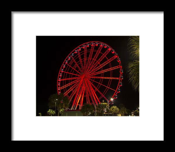 Sky Wheel Framed Print featuring the photograph Myrtle Beach Sky Wheel by Pat Walsh