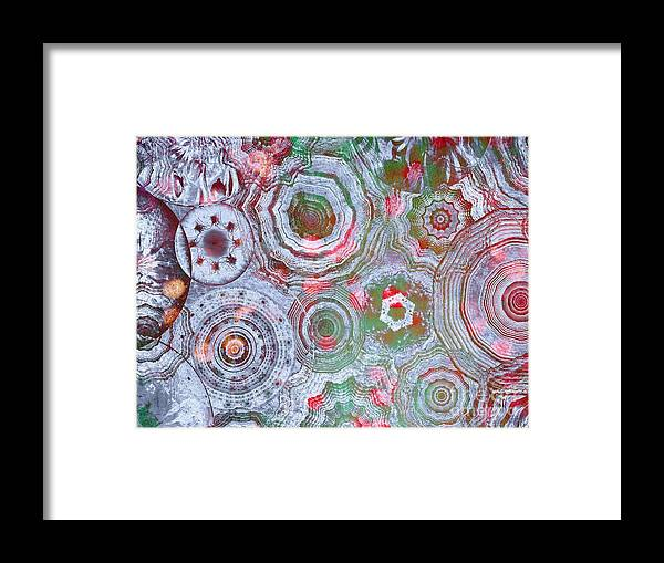 Abstract Framed Print featuring the digital art Mysterious Circles 3 by Klara Acel