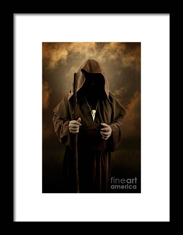Mystery Man Wearing Cloak With Hood Bird Skull Pendant Holding A Wooden Wizard Staff Framed Print