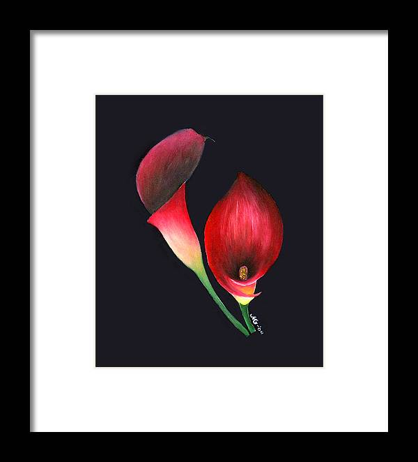 Red Calla Lillies Framed Print featuring the painting Mystic Calla Lillies by Mary Gaines