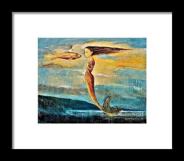Mermaid Art Framed Print featuring the painting Mystic Mermaid IIi by Shijun Munns