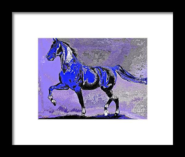 Mysterious Stallion Framed Print featuring the painting Mysterious Stallion Abstract by Saundra Myles