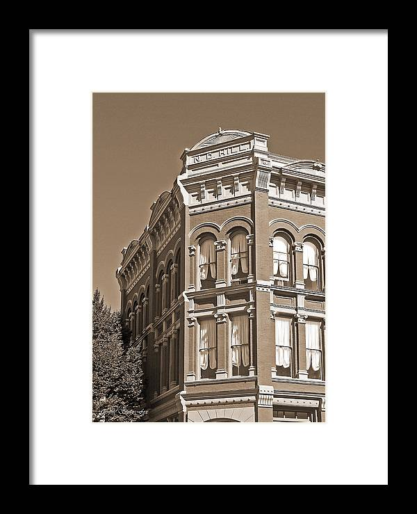 N_d_hill_building Framed Print featuring the photograph N. D. Hill Building. Port Townsend Historic District by Connie Fox