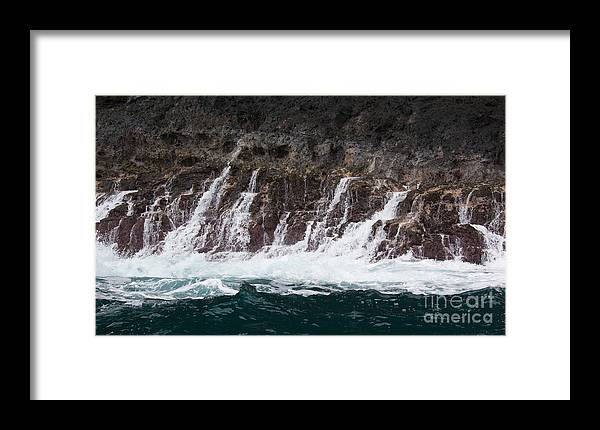 Na Pali Coast Framed Print featuring the photograph Na Pali Cascade by Suzanne Luft