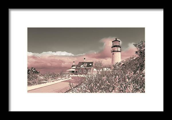 Naive Art Photography - Pink Truro Lighthouse In Winter Framed Print ...