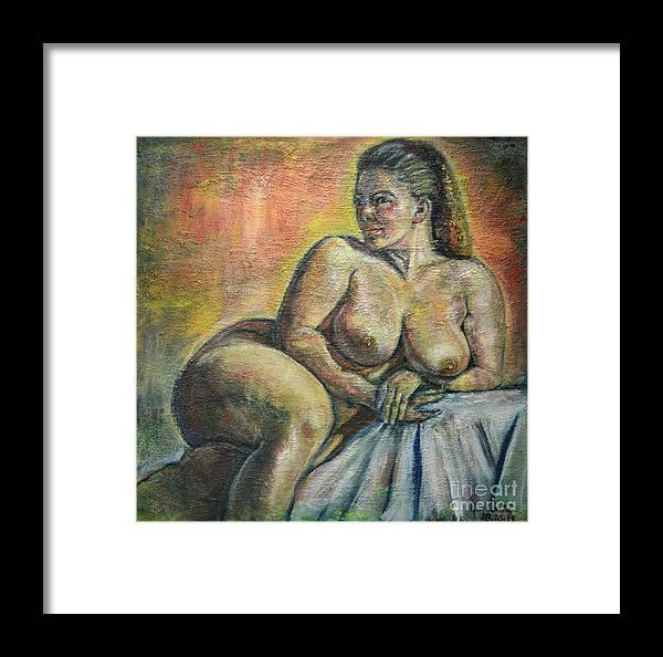 Raija Merila Framed Print featuring the painting Naked Paris by Raija Merila