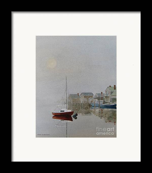 Dock Framed Print featuring the painting Nantucket Fog by Karol Wyckoff