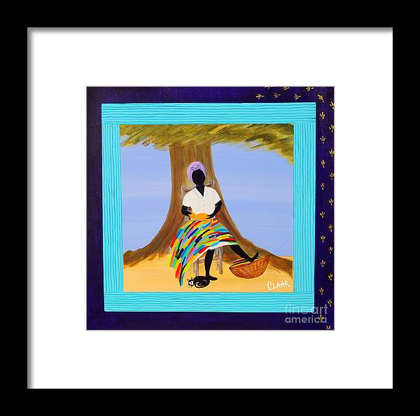 Gullah Framed Print featuring the painting Nap With Cats by Samantha Claar