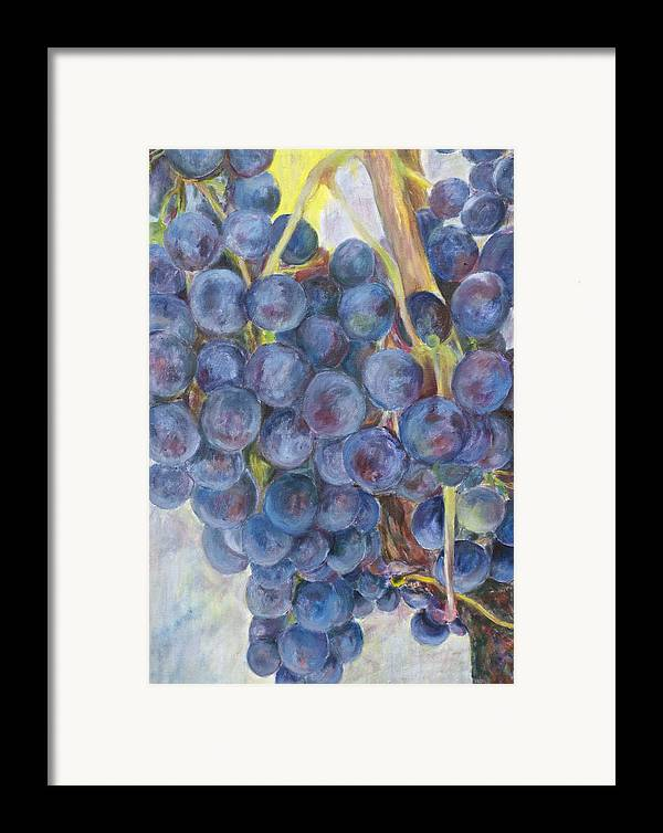 Grapes Framed Print featuring the painting Napa Grapes 1 by Nick Vogel
