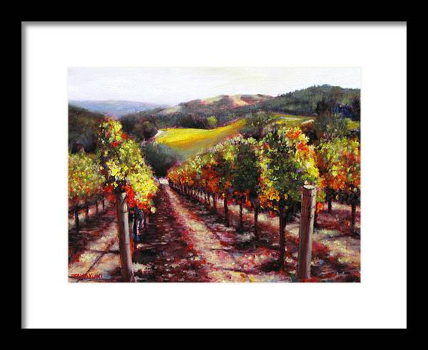 Wine Painting Framed Print featuring the painting Napa Hill Side Vineyard by Takayuki Harada