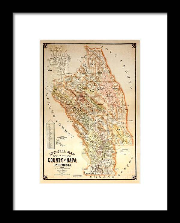 Napa Valley Map Framed Print featuring the photograph Napa Valley Map 1895 by Jon Neidert
